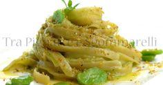 Fettuccelle romane con crema di fave fresche, caciocavallo podolico e crumble di pane alla menta romana   Tra Pignatte e Sgommarelli