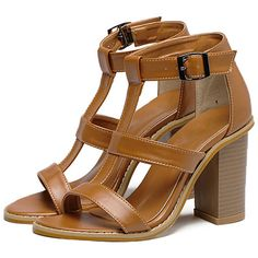 Brown Peep Toe Buckle T-strap Sandals (310 GTQ) ❤ liked on Polyvore featuring shoes, sandals, t strap shoes, chunky-heel sandals, brown platform sandals, peep toe sandals and high heel sandals