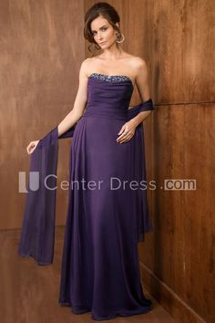 $131.59-Simple Strapless Purple Strapless Long Mother Of The Bride Dress With Shawl. http://www.ucenterdress.com/strapless-a-line-long-mother-of-the-bride-dress-with-crystals-and-matching-shawl-pMK_300940.html.  Tailor Made mother of the groom dress/ mother of the brides dress at #UcenterDress. We offer a amazing collection of 800+ Mother of the Groom dresses so you can look your best on your daughter's or son's special day. Low Prices, Free Shipping. #motherdress