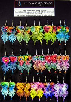 hand painted lace earrings     August order by wildwickedbeads, via Flickr