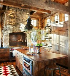 Rustic stone and wood kitchen