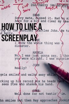 to Line a Film Script article on how to line a screenplay for continuity, coverage and general knowledge screenwriting filmmakingarticle on how to line a screenplay for continuity, coverage and general knowledge screenwriting filmmaking Film Script, Script Writing, Writing Advice, Article Writing, Writing Help, Beau Film, John Wesley Shipp, Beste Comics, Film Tips