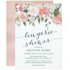 botanical, elegant modern floral, pastel floral, peach and cream, blush pink and sage, rose and peony flowers, pastel watercolor floral, calligraphy, lingerie bridal shower, lingerie shower invitationsMidsummer Floral | Lingerie Shower Invitation $2.26 by RedwoodAndVine Lingerie Shower Foods, Lingerie Shower Cookies, Lingerie Shower Invitations, Bridal Lingerie Shower, Bridal Shower Games, Bridal Showers, Peonies And Hydrangeas, Bachelorette Party Games, Pastel Floral