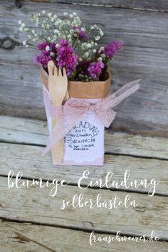 Eine wunderschöne Einladung zum Brunch oder zur Gartenparty! Upcacling vom allerfeinsten Diy Origami, Stolz Wie Bolle, Upcycle, Zero, Brunch, Paper Mill, Diy, Craft, Invitation Birthday