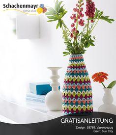 Frecher Häkelezug für eine Vase aus Schachenmayr Sun City #SunCityWolle
