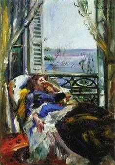 Lovis Corinth: Woman in a Deck Chair by the Window  (1913)