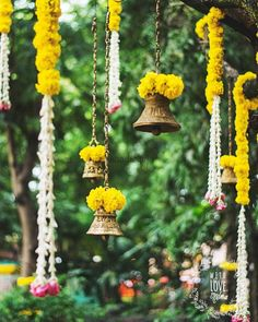 indian wedding 19 Ways to Add the Auspiciousness of Bells in Wedding Decor Wedding Hall Decorations, Marriage Decoration, Flower Decorations, Wedding Centerpieces, Diwali Decorations, Backdrop Decorations, Indian Wedding Flowers, Indian Weddings, Marigold Wedding