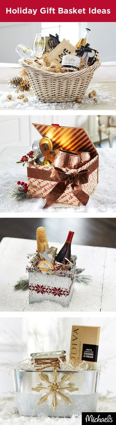 Make gift giving personal with these fun gift baskets. Fill them to the brim with the recipients favorite things or create a themed basket for them to enjoy. Don't forget to add a bow or embellishment as a final touch. Get everything you need to build the Wedding Gift Baskets, Diy Gift Baskets, Basket Gift, Wedding Gifts, Christmas Gift Baskets, Diy Christmas Gifts, Holiday Gifts, Holiday Fun, Cute Gifts