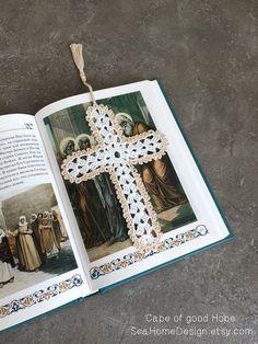 Gehäkelte Lesezeichen Textmarke mit Quaste Geschenk für Mutter Freunde Lehrer handgemacht häkeln Kreuz weiss