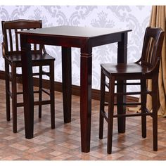 Library Walnut 3-piece Bar Table Set