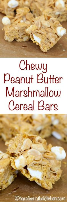 These chewy, slightly crunchy, peanut butter cereal bars are loaded with pockets of gooey marshmallows; Chewy Peanut Butter Cereal Bars are a huge hit every time we make them. Marshmallow Cereal, Marshmallow Recipes, Recipes With Marshmallows, Cereal Treats, Cereal Bars, Sweet Desserts, Easy Desserts, Bar Recipes, Dessert Recipes