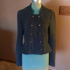 Free People Sweatshirt Navy Blue cotton sweatshirt with a blazer style look button up front has lace trim around neckline and arms flared bottom 4 buttons on the cuffs runs smaller than marked Free People Tops Sweatshirts & Hoodies