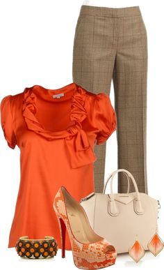 A fashion look from April 2013 featuring orange blouse, creased pants and christian louboutin pumps. Browse and shop related looks. Komplette Outfits, Cool Outfits, Casual Outfits, Fashion Outfits, Womens Fashion, Fashion Clothes, Mode Collage, Looks Plus Size, Work Chic