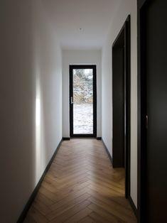 Scullion Architects builds Blackrock House in meadow on the Irish seaside - diy furniture polish Black Interior Doors, Black Doors, Future House, My House, Flur Design, Hallway Designs, Industrial House, Architecture, Home Deco