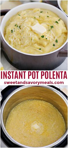 Making Polenta in the Instant Pot is easy and does not require stirring. It is our favorite way of cooking it, and ready in 20 minutes. Perfect with some parmesan cheese and butter. Gourmet Recipes, Vegetarian Recipes, Cooking Recipes, Healthy Recipes, Vegetarian Appetizers, Delicious Recipes, Polenta Recipes, Soup Recipes, Dinner Recipes