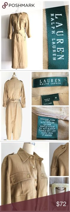 New Listing! Ralph Lauren Khaki Linen Shirt Dress Classic Ralph Lauren 100% Linen Khaki Safari Shirt Dress. Belted at the waist with Faux Tortoise buckle. 2 Bust and Hip pockets & inverted pleat detail on the bodice in the back of the dress. Measurements available upon request. Bundle & Save $ Ralph Lauren Dresses Long Sleeve