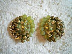 Vintage 1960s Floral Petals Lucite Rhinestone Earrings  by BlackRain4, $24.99