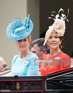 Sophie Countess of Wessex and Crown Princess Mary of Denmark arrive by carrieage for day 2 of Royal Ascot at Ascot Racecourse on June 8, 2016 in Ascot, England.