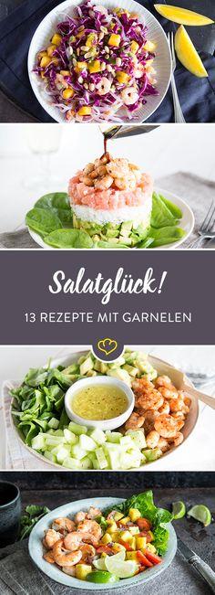 Es gibt Salate, da passt einfach alles - die Basis zum Dressing zum Fisch. Heute in der Hauptrolle: Garnelen. Mit Avocado, Mango und Couscous eine Wucht.