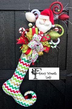 XL Santa Chevron Elf Stocking #Christmas Elf by FancyWreathLady