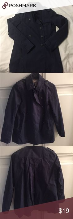 Navy blue chic trench coat in size xs Chic navy blue trench coat in size xs missing one button. With two side pockets Forever 21 Jackets & Coats Trench Coats