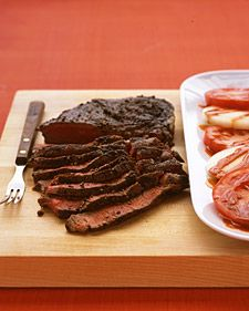 Slice steak against the grain: Place steak on a cutting board and, holding the blade of a sharp knife at a 45-degree angle, cut into thin slices.