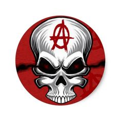 Crimson Skull Anarchy Classic Round Sticker