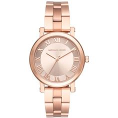 Michael Kors Women's Norie Rose Gold-Tone Stainless Steel Bracelet... ($225) ❤ liked on Polyvore featuring jewelry, watches, bracelets, rose gold, stainless steel watch bracelet, rose gold tone jewelry, stainless steel jewelry, watch bracelet and roman numeral jewelry