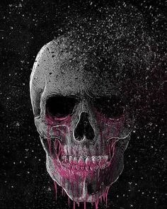 Purple & Grey Skull hochgeladen von amyjames auf We Heart It - Cool Skulls - News Dark Fantasy Art, Dark Art, Sugar Skull Artwork, Lip Wallpaper, Pink Skull Wallpaper, Wallpaper Backgrounds, Skull Rose Tattoos, Badass Skulls, Grunge Art