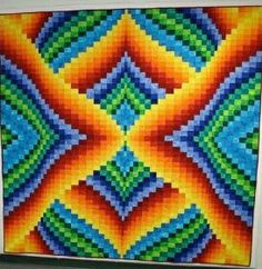Beautiful Bargello in Bold 24 Blocks, Bargello Quilts, Contemporary Quilts, Warm Fuzzies, Hobbies And Crafts, Projects To Try, Embroidery, Blanket, Diy
