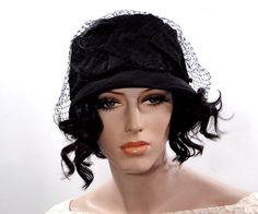 Vintage Womens Hat Black Cloche Bucket // Silk Taffeta // Accessories circa 1960s by SueEllensFlair on Etsy