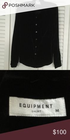 Equipment velvet top Button down, perfect condition, color rich black Equipment Tops Button Down Shirts