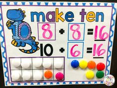 This FREE work mat is perfect for helping little ones make a group of ten when doing addition!