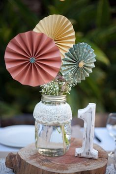 Bridal shower centerpiece.  Different colors