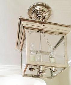 Cornice Semi-Flush Ceiling Lantern, Polished Nickel