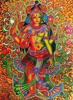 Modern Painting - Ardhanarishvara- Siva And Parvathy by Arun Sivaprasad Indian Traditional Paintings, Indian Art Paintings, Abstract Paintings, Oil Paintings, Kerala Mural Painting, Tanjore Painting, Ganesha Painting, Madhubani Art, Indian Folk Art