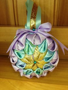 Pastel Ice Quilted Ornament by BlackCatEmbroideryCo on Etsy