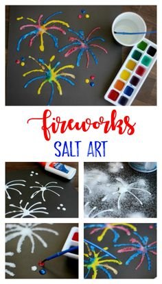 Salt Art Painting for Kids: Add color and texture with salt! Salt Art Painting for Kids: Add color and texture with salt! How To Draw Fireworks, Fireworks Craft For Kids, Fireworks Art, New Year Fireworks, New Year's Eve Crafts, July Crafts, Summer Crafts, Holiday Crafts, Salt Painting