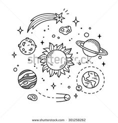 Hand drawn solar system with sun, planets, asteroids and other outer space objects. Cute and decorative doodle style line art. - stock vector