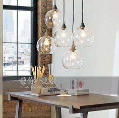 moderne korte american licht transparante ronde bal glas hanglamp bar lamp lampen
