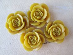 4PCS  Rose Flower Cabochons  18mm  Yellow  Cabochons by ZARDENIA, $2.00