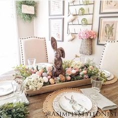 I found these sweet little bunny plates last spring Piers Enmann and used the colors as my inspiration for this Easter table in my kitchen nook. Diy Osterschmuck, Easy Diy, Diy Easter Decorations, Easter Centerpiece, Dining Table Decor Centerpiece, Party Table Centerpieces, Centerpiece Ideas, Dining Tables, Seasonal Decor