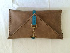 SOLD - Tan Italian Leather Equestrian Style Clutch Handbag by AlexCortezDesigns on Etsy