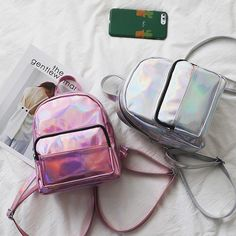 Cheap hologram laser, Buy Quality holographic backpack directly from China backpack hologram Suppliers: 2017 holographic backpack shiny pu korean backpacks hologram laser pink/silver bags women mini mochila bagpack bolsas feminina Cute Mini Backpacks, Girl Backpacks, Satchel Backpack, Leather Backpack, Pu Leather, Holographic Bag, Mini Mochila, Estilo Grunge, Back Bag