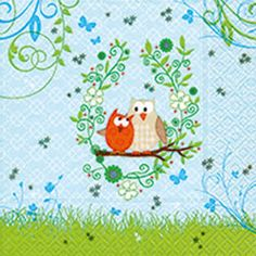 Owls in spring Tabletop, Stylus, Decoration, Paper Design, Napkins, Snoopy, Kids Rugs, Retro, Spring