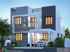 1215 square feet 2 bedroom single floor budget friendly home design by Sha Alshifan M K from Malappuram, Kerala. Modern Exterior House Designs, Small Modern House Plans, Modern Small House Design, Latest House Designs, Modern Home Exteriors, House Floor Design, House Outside Design, 2 Storey House Design, Bungalow House Design