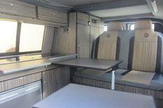 campervan-conversions20 Campervan Interior Volkswagen, Vw Transporter Camper, Kombi Motorhome, Camper Interior, Vw T5, Van Conversion Interior, Camper Van Conversion Diy, Campervan Conversions Layout, Build A Camper Van