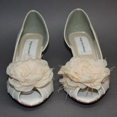 b8f3fd19668 Items similar to Wedding Shoes -- Ivory Satin Peeptoes with Silk Organza  Flower Adornment on Etsy