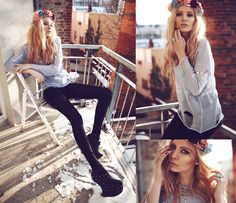 Necklace, Ring, Rose Crown, Arm Cuff, Wedges, Jumper, Shorts