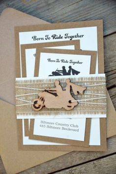 Invitations with wooden motorcycle decor detail